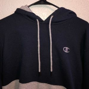 Champion Small / Grey & Navy Blue Hoodie